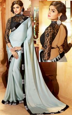 Impressive Grey Color Satin Saree