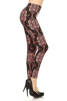 Prints and Solids in Regular and Plus Size Buttery-Soft Yoga Waist Printed Leggings for Women 100