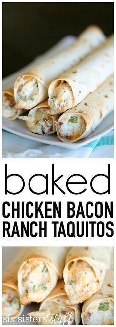 Chicken Bacon Ranch Taquitos from SixSistersStuff.com. Even my picky eaters love these! Great for lunch, dinner or an afterschool snack. #recipe #appetizer #dinnerrecipe #sixsistersrecipes