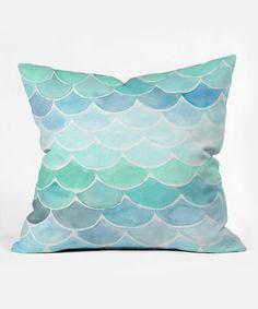 Seaside hues mint aqua teal Wonder Forest Mermaid Scales Throw Pillow Coastal decorating