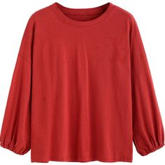 SheIn(sheinside) Red Drop Shoulder T-shirt ($13) ❤ liked on Polyvore featuring tops, t-shirts, red long sleeve top, long sleeve tee, long sleeve tops, drop shoulder t shirt and polyester t shirts