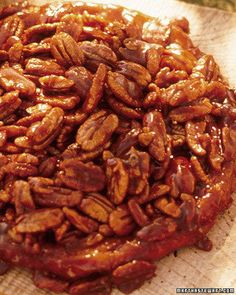Upside-Down Pecan Pie. [ NOTE: Recipe says 7/8in thick crust.... Misprint... Should read 1/8in thick.]