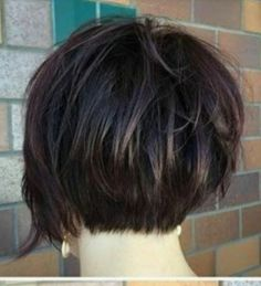 Good length on the back but still stacked., Good length on the back but still stacked. Short Shag Hairstyles, Pretty Hairstyles, Stacked Hairstyles, Curly Hair Styles, Natural Hair Styles, Hair Color And Cut, Great Hair, Hair Today, Hair Dos