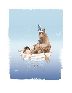 Kunstdruck Ruderbär im Boot / art print bear in a boat by Frau Annika via DaWanda.com