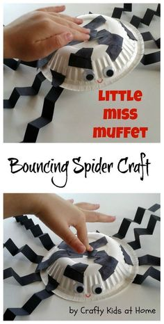 Have fun making this Little Miss Muffet nursery rhyme inspired bouncing Spider craft with your toddlers and preschoolers. Made from a paper bowl and construction paper.