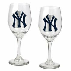 New York Yankees NY Set of 2 Wine Glasses by Great American Products. $39.95…