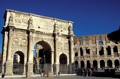 The Arch of Constantine is a arch that was built in Rome between the Colosseum and the Palatine Hill. It was made by the Roman Senate to commemorate Constantine I's victory over Maxentius at the Battle of Milvian Bridge on October 28, 312.