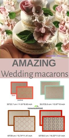 Use macarons baking mat. Macaron Cookies, Macaron Cake, Macaroon Recipes, Sugar Flowers, Cake Decorating Techniques, Cute Cookies, Mini Cakes, Dessert Table, Beautiful Cakes