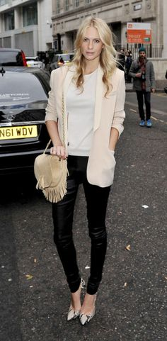 Poppy Delevingne in Neutrals, Black Leather Skinnies & Snakeskin Pumps.