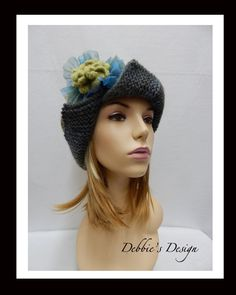 Adult Hat-205 Women, Handmade,  Cloche, Embellished, accessories, adult, Clothing, Gifts, millinery, Knitted by DebbiesDesign on Etsy