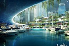 Down at the Marina - The Eco-Utopian Visions of Architect Vincent Callebaut Green Architecture, Futuristic Architecture, Architecture Design, Future City, Sci Fi Stadt, Vincent Callebaut, Sci Fi City, Eco City, Future Buildings