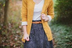 Wardrobe Wednesday | Yellow Sweater. I'm not into all that mustard yellow color clothing but this beautiful.