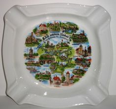 "GEROLD PORZELLAN - no chips, no scratches, never been used  Beautifully illustrated with major German cities (writing in German)  Stamped ""Made in Germany"" on the back of ASHTRAY  Bavaria porcelain"
