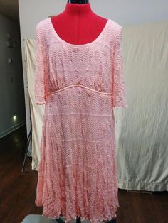 BUY IT NOW! Stretch Lace Dress Empire Waist Chris Mclaughlin Size 18 Light Orange #chrismclaughlin #EmpireWaist