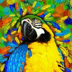 """#Gold and #Blue #Macaw #Fantasy"" & ""#Marijuana #Psychedelic #Skull""  New #Art #Prints on #Society6!"