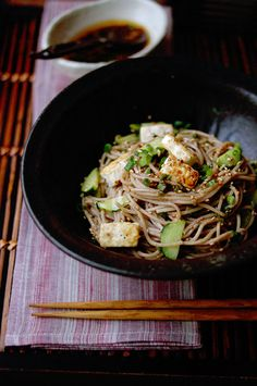 Japanese soba noodles in broth. Tasty dishes served in restaurants and in the soba parlors we passed on the streets.