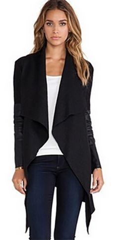 Black Faux Leather Long Sleeve Open Front Asymmetric Hem Wool Coat