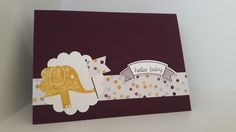 New Baby card, Stampin Up Moonlight DSP, Thoughtful Banners stamp set & punch, animal stamp