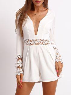 Shop White Deep V Neck Lace Jumpsuit online. SheIn offers White Deep V Neck Lace Jumpsuit & more to fit your fashionable needs.