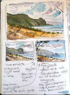 Watercolour sketchbook and notes on colour harmony and colour palette ideas for a watercolour seascape painting Watercolor Paintings Nature, Watercolor Sketchbook, Seascape Paintings, Watercolor Landscape, Art Sketchbook, Landscape Art, Landscape Paintings, Fashion Sketchbook, Watercolour Palette