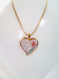 Vintage Crystal Pave Heart Pendant with rose by PETALLEDESIGNS, $30.00