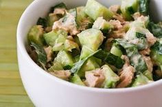 Kalyn's Kitchen®: Garden Cucumber Salad Recipe with Tuna and Sweet Basil (Low-Carb, Gluten-Free, Can Be Paleo)