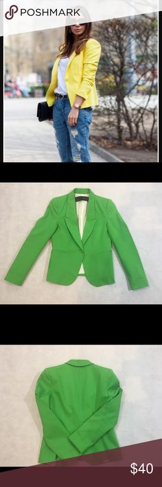 Zara Basic Blazer Beautiful Green Fitted Blazer - Minor Stain on Sleeve - Shoulder to Shoulder 14 - Length 21.5 ArmPit to ArmPit 12 - Sleeves 22                    96% Cotton - 3% Elastane                          Smoke and Pet Free Home 🏡                     Reasonable Offers are welcome.                      Please look at the photos for the Condition of this garment Zara Basic Jackets & Coats Blazers