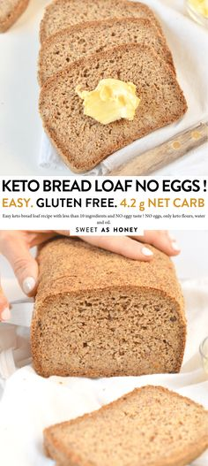 Keto bread loaf No Eggs, Low Carb with coconut flour, almond meal, psyllium husk and flaxmeal. A delicious easy keto sandwich bread with only g net carb per slice to fix your sandwich craving with no guilt! Keto Bread Coconut Flour, Coconut Flour Cakes, Keto Flour, Sugar Bread, Almond Flour Recipes, Almond Meal, Honey Bread, Olive Bread, Almond Butter