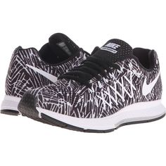 reputable site 4dce3 11ab7 Nike Air Zoom Pegasus 32 Print (Black White) Women s Shoes ( 66) ❤ liked on  Polyvore featuring shoes, athletic shoes, black, athletic running shoes, ...