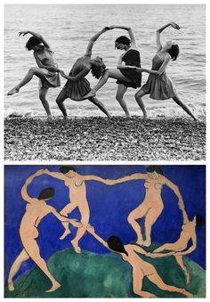 Top: Kent Walmer, Summer school students of Miss Margaret Morris rehearse on the beach, 21 Aug 1934. Bottom: Henri Matisse, La Danse, 1909. (https://en.wikipedia.org/wiki/Dance_%28Matisse%29)
