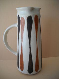Mid Century Modern Frank Mann Vermont Pottery Stoneware Carafe Pitcher Vase by Modernaire on Etsy