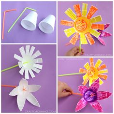 Make styrofoam cup flowers for a kids craft! This is a fun art project for spring or summer time.