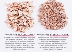 Comparison of Rolled Oats and Steel Cut Oats Oatmeal Nutrition Facts, Rolled Oats Nutrition, Nutrition Data, No Dairy Recipes, Raw Vegan Recipes, Vegan Food, Whole Food Recipes, Fruit Benefits, Health Benefits
