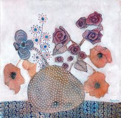 Poppies And Roses Painting by Sandrine Pelissier