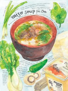 Miso soup print of watercolor painting kitchen art by Heegyum