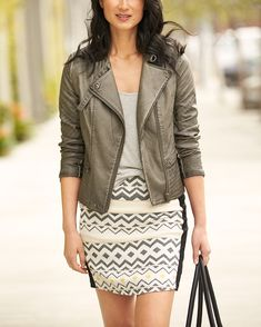 Thursday is the new Friday. Swap out your skinnies for a graphic skirt & moto jacket for instant night-out appeal. #StylistTip