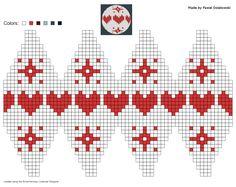 knitting chart made by Pawel Dolatowski Knit Christmas Ornaments, Knitted Christmas Stockings, Beaded Ornaments, Xmas, Knitting Humor, Baby Hats Knitting, Knitting Charts, Christmas Fair Ideas, Brother Knitting Machine