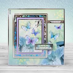 Card created using Hunkydory Crafts' Floral Shimmer Luxury Card Collection Kanban Cards, Wings Card, Hunkydory Crafts, Hunky Dory, Luxury Card, Card Companies, Butterfly Cards, Handmade Birthday Cards, Card Kit