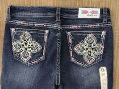 GRACE IN LA SALE Mid Rise Easy Bootcut Embellished Stretch Jeans 29 X 34 #GraceInLA #BootCut