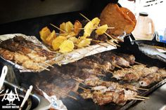 Puerto Rican street food on a stick. Pinchos de carne, cerdo, pollo, tostones, bacalaitos.
