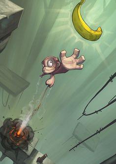 25 Creative Examples of Illustration Artwork www. Cartoon Monkey, Monkey Art, Cartoon Art, Monkey Style, Illustration Example, Illustration Art, Game Character Design, Character Art, Illustrations