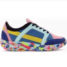 Zara multicolor sneakers. I just bought it from A posher who said    (worn once , size 41 which fits a Zara size 10!! Not 11  , in great condition ) Sadly i tried it on & it's big for me.. FEEL FREE TO MAKE AN OFFER Zara Shoes Sneakers