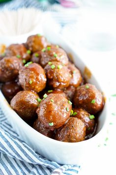These Maple Chili Meatballs combine sweet and heat for the ultimate game day or party appetizer!