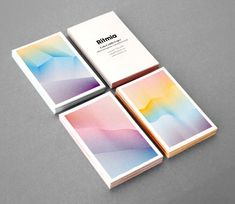 This is a set of business cards for a music therapy company.  I love this; the color pattern is almost like a visual representation of sound waves.