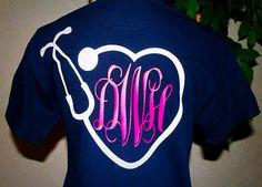 Monogrammed nurse t shirt Vinyl Shirt Vinyl by CarolinaSilhouettes