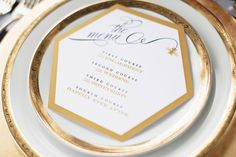 "Unique hexagon gold and black menu for the ""honeybee"" styled shoot! 