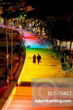 The new lighting plan of the city of Cannes: permanent illumination of the Boulevard de la Croisette, Alpes-Maritimes, France (December, 2007)
