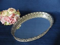 Mid Century Mirrored Vanity Tray with Gold Tone by SecondWindShop, $24.50