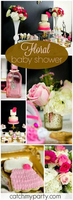 What a gorgeous pink and black floral baby shower! See more party ideas at Catchmyparty.com!