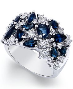 Sapphire (3-1/6 ct. t.w.) and Diamond (7/8 ct. t.w.) Wide Ring in 14k White Gold - Rings - Jewelry & Watches - Macy's